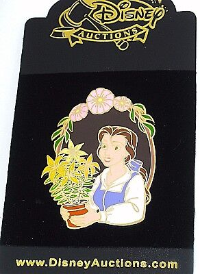 New RARE LE Disney Auctions Pin✿Beauty Beast Belle Flowerpot Window Vine Flowers