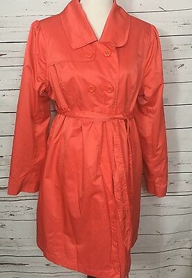 Liz Lange Maternity Empire Waist Coat Belted Double Breasted Coral Jacket Sz XL