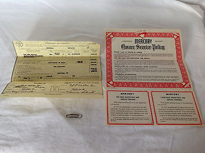 1954 Mercury Dealers Owner Service Policy with Original Sale Contract Receipt