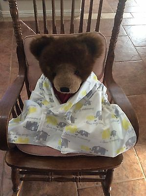 Gray Yellow Elephants Cotton Flannel Baby Toddler Blanket