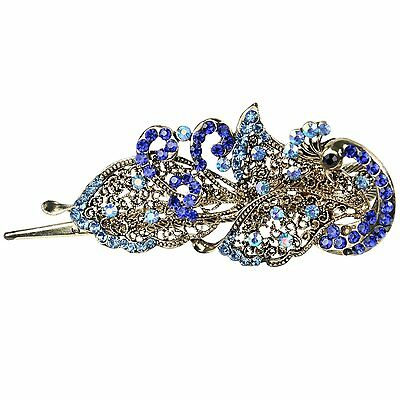 Lovely Vintage Jewelry Crystal Peacock Hair Clips Hairpins - For Hair Clip K3F9