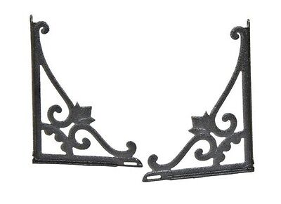 Matching Pair Early 19Th Cent Black Enameled Cast Iron Brackets