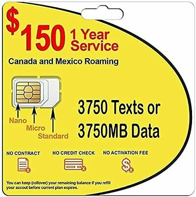 1 Year Wireless Plan Prepaid GSM SIM Card Rollover Talk Text Data No Contract