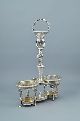 Silver cruets with stand set, Santander (Spain), 19th century.