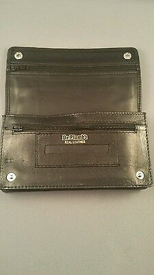 Black Leather Tobacco Cigarette Rolling Pouch Wallet Press Stud Dr Plumbs 5523