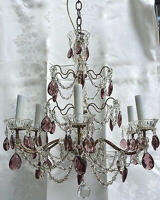 Antique Vintage French Amethyst Crystal Macaroni Beaded Directoire Chandelier