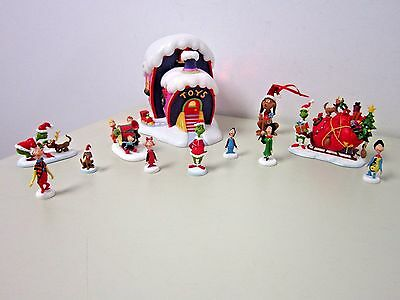 Dept 56 How The Grinch Stole Christmas Set Whoville Toy Store Dog Santa Sleigh