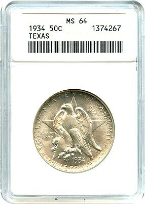 1934 Texas 50c ANACS MS64 - Silver Classic Commemorative