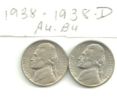 JEFFERSON NICKELS  1938  and 1938-D  AU.BU