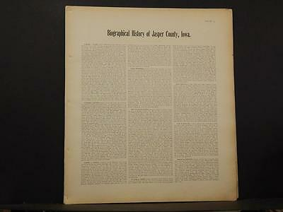 Iowa, Jasper County Map, Biographical History, C. 1901   K10#79