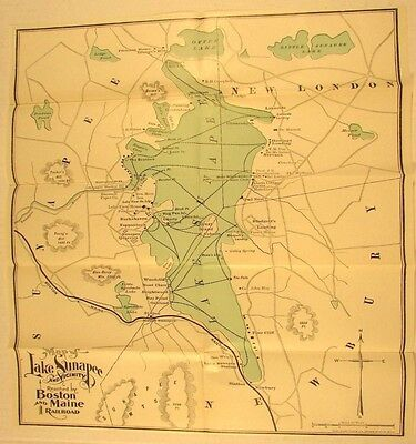 Lake Sunapee New Hampshire c.1900 antique lithographed map hotels railroads