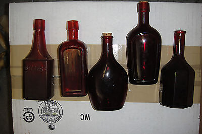 "(Lot of 5) Wheaton NJ Glass Bottles ,6"" red"