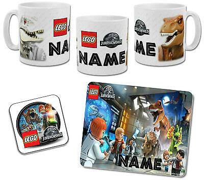 Personalised Lego Jurassic World Mug with Coaster & Placemat Options