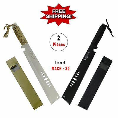 """2 Pcs Set  -  20"""" MACHETE ( BOWIE HUNTING KNIFE ) MILITRAY FULL TANG FIXED BLADE"""