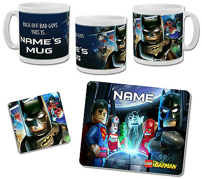 Personalised Lego Batman Mug with Coaster & Placemat Options