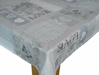 Home Sweet Home Grey  Vinyl Wipe Clean Pvc Tablecloth