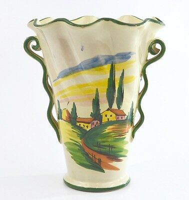 Vintage Italian Vase with Tuscan Villa and Poplar Trees Hand Painted. 1930s.