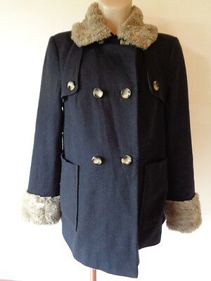 Topshop Maternity Navy Wool Double Breasted Faux Fur Trim Jacket Coat Size 12