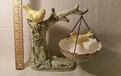 RARE Vintage Porcelain Bird Bath Figurine UCAGCO Japan YellowBirds Hand Painted