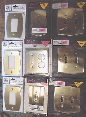 9 Decorative BRASS Metal Switch GFI OUTLET Toggle COVER Wallplate CONTRACTOR LOT