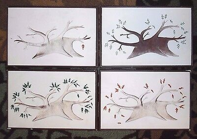 4 VTG FOUR SEASONS mcm Mid Century Modern 1958 RICHTER chalkware wall leaF tree