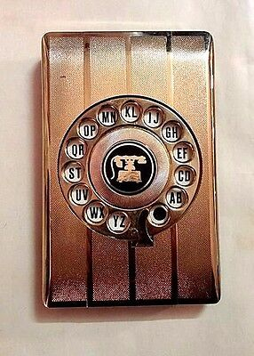 Vintage Telephone Address Book Rotary Dial Pop Up Desktop Goldtone Retro