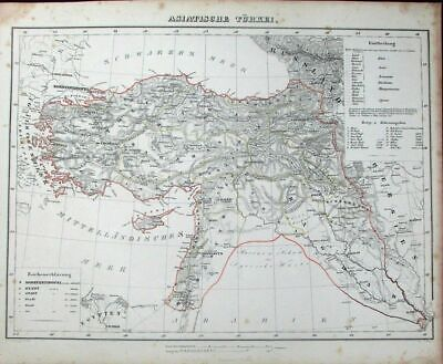 Turkey Ottoman Empire Cyprus Holy Land Persia c.1849 antique detailed German map