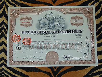 Vintage Stock Certificate Chicago Rock Island & Pacific Railroad 10 Shares