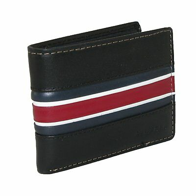New Men's Tommy Hilfiger Leather Card Bifold Wallet 31tl22x029 Black