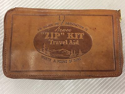 VINTAGE ANTIQUE 1920s NEWCO ZIP LIT FIRST AID TRAVEL KIT LEATHER COMPLETE NICE