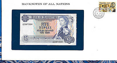 *Banknotes of All Nations Mauritius 1967 5 Rupee AUNC P 30c Prefix A/46