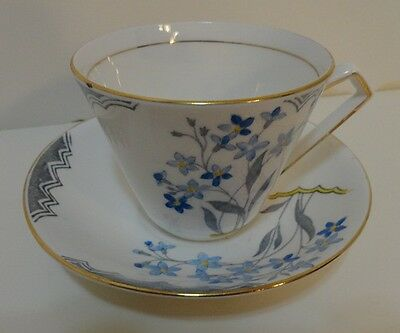 Rosina China Blue Floral Cup and Saucer Made in England
