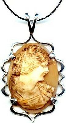 Antique 1850's Italian Hand Carved Torre Del Greco Sea Shell Cameo & Sterling