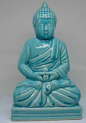 Vintage Chinese Porcelain Turquoise Blue Buddha Figurine ~ 10 inches tall  ~