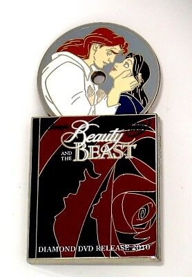 LE Disney Pin✿Beauty Beast Belle Prince Human Again Diamond DVD Movie Spinner LE