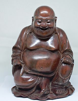 Antique Chinese Wooden Budai / Happy Buddha Figurine ~ 9 inches tall ~