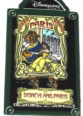 LE 600 Disney Pin✿Beauty Beast Belle Paris Retro Disneyland Dangle DLP Street LE