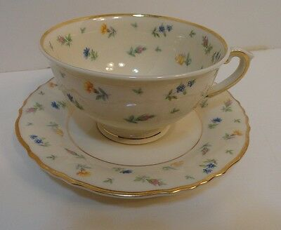 Syracuse China Federal Shape Floral Cup & Saucer Made In America