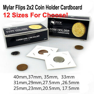 50pcs Cardboard 2x2 Coin Holder Mylar Flips for Silver Dollars 12 size choose US