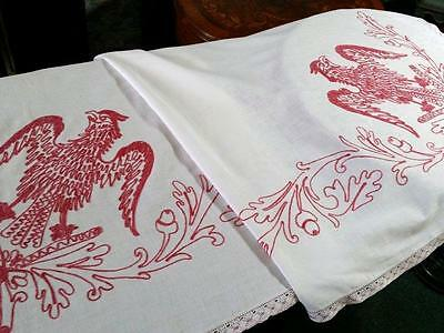 Antique Turkey Red Pillow Lay Over Eagle & Oak Leaves 72x31