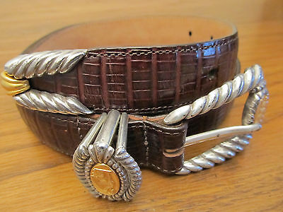 "BRIGHTON MUSEUM COLLECTION 1"" Wide Brown Leather Belt Women's Sz M Fits 27""-31"""