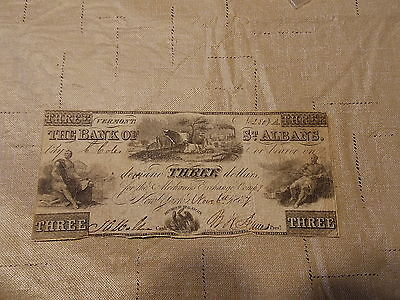 1837 Bank Of St.albans,vermont $3 Obsolete Bank Note