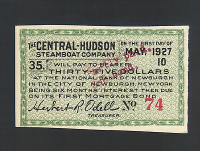 $35 Dollars 1927 Central-Hudson SteamBoat Co US ODELL NEWBURGH NY Bond Coupon