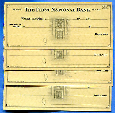 Wakefield Michigan - The First National Bank Checks - Lot of 4 Pieces