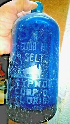 A very rare Miami antique seltzer  bottle blue $125 I found diving 47 years ago