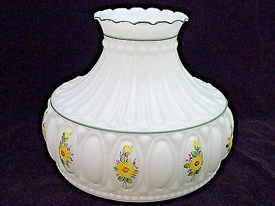 10 INCH OPAL and  DAISY FLORAL OIL LAMP SHADE M750  STYLE fits ALADDIN