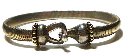 Espo Joseph Esposito Sterling Silver 14K Gold Ball Snake Hinged Bangle Bracelet