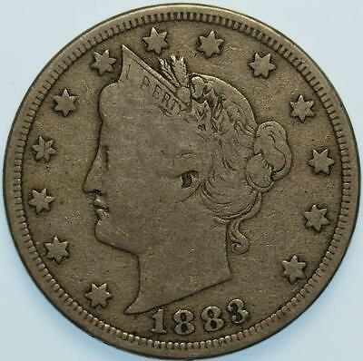 "1883 ""with Cents"" Liberty Nickel, Choice Fine, Tough Semi-Key Date, Original!"