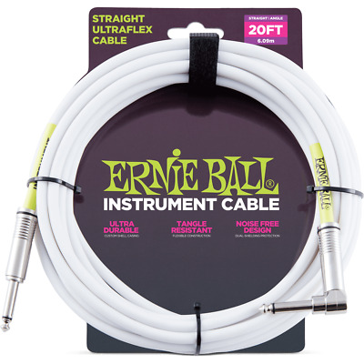 Ernie Ball 20ft Straight to Angle Instrument Cable White