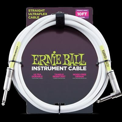Ernie Ball 10ft Straight to Angle Instrument Cable White